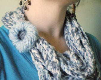 Half Price & Ready to Ship! Crochet Infinity Scarf in Blue, White, and Gray - Winter Chain Scarf Infinity Scarves for Women