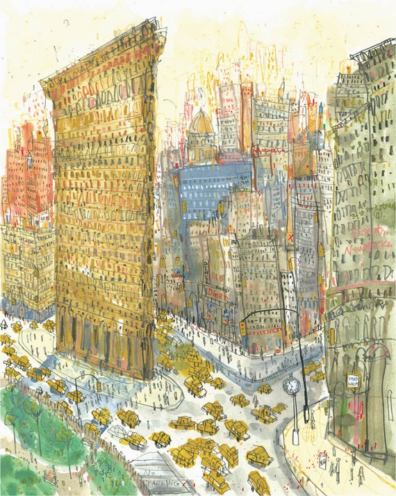 FLATIRON NEW YORK Watercolor Flatiron Building Wall Art