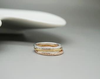set of 3 rings - silver ring gold gold plated - hammered ring - gold rose ring - hammered ring - gift for her - bridesmaid gift