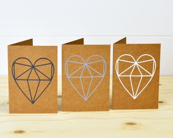 Set Of 3 Geometric Heart Cards