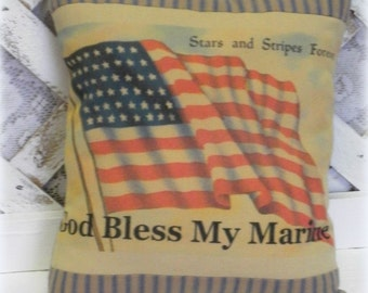 God Bless My Marine Printed Pillow, Military Gift, Patriotic Decor, Marine Corps Gift, Military Family Gift, American Flag Pillow