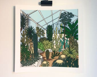 Kew Gardens Cacti - Print from original papercut art