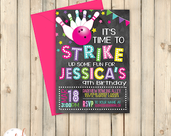 Bowling Bash Birthday Invitation, Girl Bowling Party Theme, Roll On Over, Strike Up Fun Invite, Bowling Ball Pins, Printed Invite or Digital