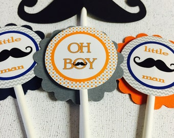 Mustache cupcake toppers, Mustache toppers, little man toppers. little man cupcake toppers