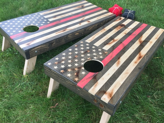 Distressed Thin Red Line Cornhole Boards
