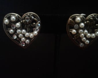 Bronzetone Victorian Revival Clip On Earrings Handmade From Upcycled Vintage Elements