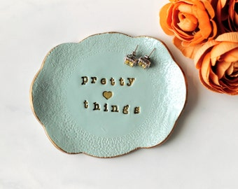 Pretty Things Blue Ring Dish, Ring Holder, Trinket Tray, Jewellery Plate, Bridesmaid Gift, Bridal Party Gift, Jewellery Photo Prop