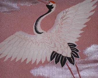 SF170-81 Vintage Japanese Crane in the Clouds Obi Silk Fabric