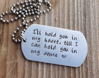 Custom dog tag Long Distance Relationship  hand stamped jewlery stainless steel military dog tag gift for him  deployment gift jewelry