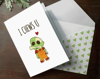 INSTANT DOWNLOAD cute zombie walking dead I Chew You funny anniversary illustration love romantic love card illustrated printable card