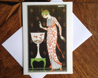 Coral.  Stunning Art Deco Greeting Card with Georges Barbier Illustration.