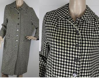 Vintage 1950s black white houndstooth wool coat jacket medium 29