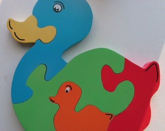 pattern duck wooden puzzle and her cub