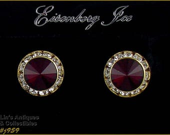 Eisenberg Ice Red and Clear Rhinestones Pierced Earrings 2 Pairs Available in Listing (Inventory #J959)