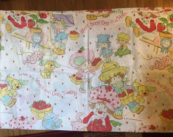 Strawberry Shortcake Vintage Twin Sheet Set (used)—great for crafts!