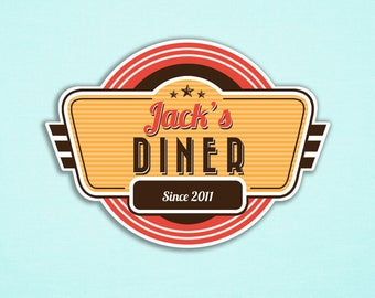Retro Diner Party Sign, Customizable Name, I will customize, Print your own, Retro Diner Sign, Diner Party, 60s Diner, Backdrop, A3 Size