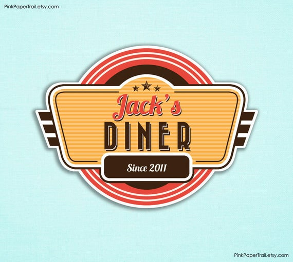 Retro Diner Party Sign Customizable Name I Will Customize Print Your Own 60s Backdrop A3 Size