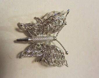 Silver tone filigree Monet butterfly brooch pin mid century fashion