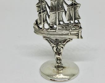 Silver wax seal stamp with  ship on top and engraved family crest on bottom, unique objects, collector items