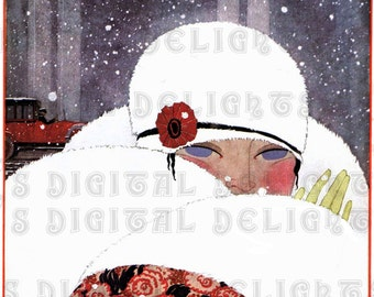 Baby, It's Cold Outside. Art Deco Flapper.  Digital Winter VINTAGE ILLUSTRATION. Art Deco Download. Digital Christmas Download.