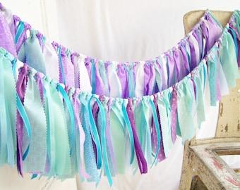 Frozen Snow Birthday Garland Summer Birthday Decoration Shabby Chic Rag Cloth Garland Blue Bunting Purple Teal Mermaid Banner Ribbon Garland
