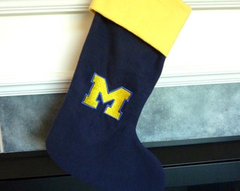 "Closeout. Personalized 18"" University of Michigan Wolverines Christmas Stocking 100% Cotton"