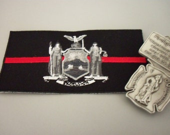 FIREFIGHTER Prayer Car Visor Clip Pewter and New York Firefighter Patch Thin Red Line Embroidered