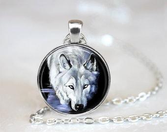 Glass Tile Necklace Wolf Necklace Black Jewelry Black Necklace Glass Tile Jewelry Animal Jewelry Wolf Jewelry Silver Necklace Silver Jewelry