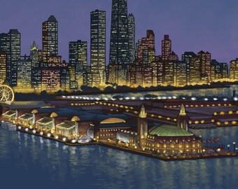 Navy Pier and Chicago Skyline - Lantern Press Artwork (Art Print - Multiple Sizes Available)