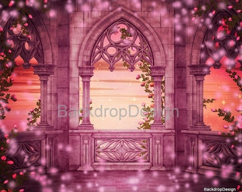 Old Castle Backdrop - flowers,fairy tale - Printed Fabric Photography Background G0035