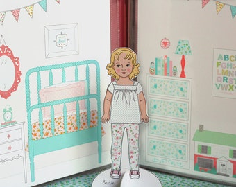 Printable PAPER Doll HOUSE Backgrounds set- pdf instant download - use to make a Travel Binder Doll House