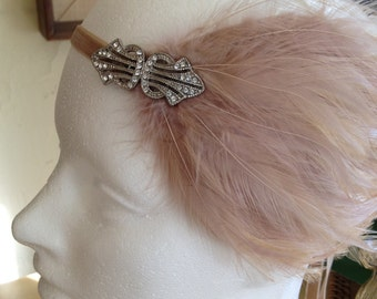 Gotham City Headbands, Bridal Headband, 1920s headpiece, silver headpiece, beige feather, great gatsby headpiece, Art Deco fascinator custom