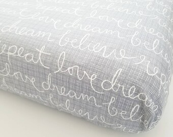 Grey Crib Sheet - Crib Sheet - Full Sized Crib Sheet - Custom Baby Bedding - Grey Nursery Decor - Gender Neutral Nursery - Modern Nursery