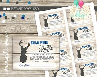 Little Buck Diaper Raffle Printable Card, Little Deer Baby Shower Diaper Raffle, Deer Baby Shower, Oh Deer, Printable Raffle Insert, DIY