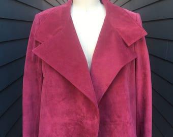 1990s Vintage Suede Leather Jacket // Vintage Leather Jacket // Fuchsia leather jacket