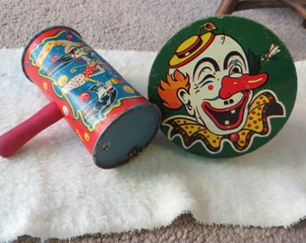 Old Metal Noise Makers Vintage Toys Metal Noise Makers with a Clown Twirling and Shaking Noise Makers Tin or Metal Toys Lithograph