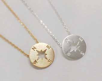 Compass necklace, christmas gift, best friend necklace, Nautical Jewelry, tiny necklace