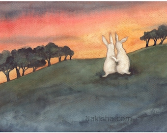 RESERVED for LS - Original Art -  Sunset Together- Watercolor Rabbit Painting