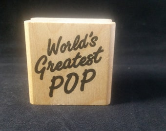 WORLD'S Greatest Pop Used Rubber Stamp