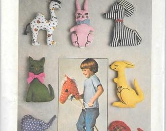 Vintage SImplicity 7744 Stuffed Animals, Camel, Elephant, Kangaroo, Dog, Cat, Bunny, Stick Horse Sewing Pattern