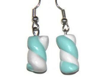 Handmade Polymer Clay Marshmallow Earrings, kawaii cookie jewelry, miniature dessert jewelry, realistic food jewelry