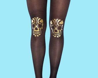 Skull tights, gold tights available in S-M, L-XL burning man clothing