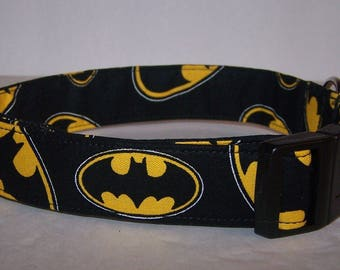 Batman Logo Dog Collar Dark Knight on Black Superhero