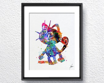 Meowth Pokemon Go Inspired Watercolor Illustrations Art Print Poster Handmade Wall Decor Art Home Decor Wall Hanging Item 267