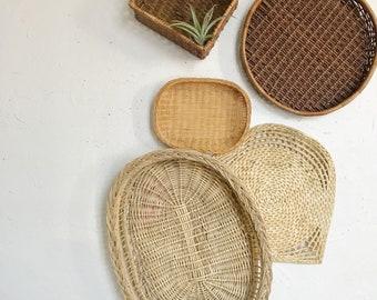 Woven wicker basket set, mixed wall hanging baskets