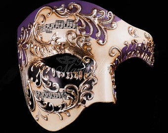 Men's Masquerade Mask, Purple Phantom Mask, Ivory Phantom of the Opera Mask, Mask with Music Notes, Masquerade Mask Men, Mardi Gras