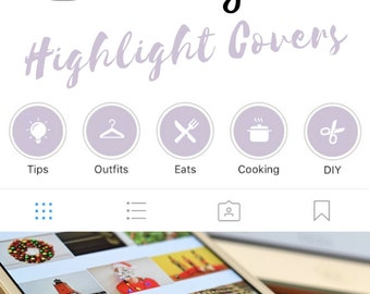 Instagram Stories Highlight Covers in Lavender Colour - Set of 20