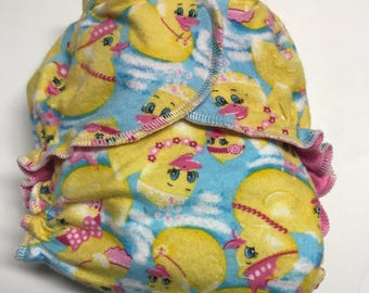 MamaBear One Size Fitted Cloth Cotton Flannel Diaper - Rubber Ducky