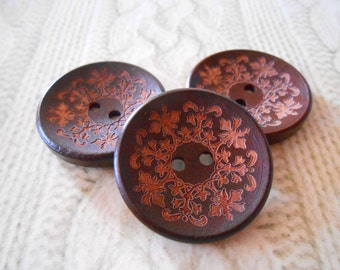 10 Laser Etched Wood Orchid Buttons Dark Brown Big 30 mm Wooden Round Orchid Sweater Coat Buttons DIY Craft Sewing Knitting Crochet Supplies