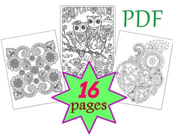 Coloring Book for adults 16 pages, Zentangle Mandala, Owl, Heart, Flower Snowflake Abstract, Printable PDF Letter, Quality Vector Graphics 7